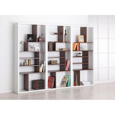 Furniture Of America Bart Multi Tiered Modern Display Bookshelf (White With  Walnut)
