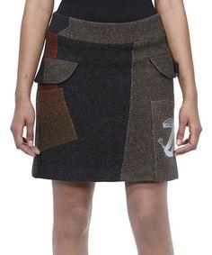 Black   Brown Patchwork Skirt by Desigual ae57770c54