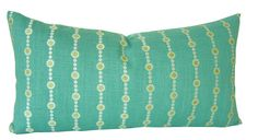 """SALE / Mermaid Necklace Linen Embroidery Lumbar Pillow Cover / Designer Fabric / Teal & Chartreuse / 12"""" x 18"""" / Designer Pillow"""