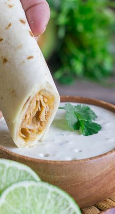 Baked Honey Lime Chicken Taquitos with Cilantro Lime Cream Sauce