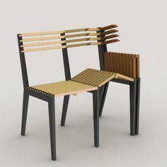 innovador y creativo diseño de silla triple plegable fácil de armar y de guardar.
