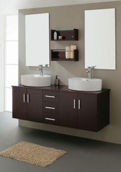 59 Inch Modern Double Sink Espresso Bathroom Vanity with Vessel Sinks UVVU305359