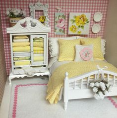 On a shelf, with other little miniatures, in a vignette....Shabby White and Yellow Bed and Bedding by RibbonwoodCottage