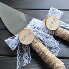 Bolo de casamento personalizado faca faca de bolo rústico país wedding cake serving set serapilheira cor decoração decoração de renda branca(China (Mainland))
