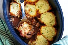 Slow-cooker veal casserole with cheesy parsley dumplings