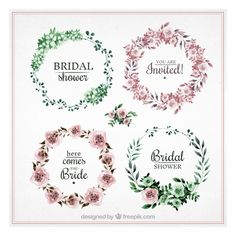 Pretty collection of round bridal shower frames Free Vector