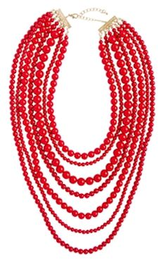 Pretty Red Necklace is a Great Accessory Red Jewelry, Bridal Jewelry, Jewelry Box, Jewelry Accessories, Fashion Accessories, Fashion Jewelry, Jewelry Making, Jewelry Ideas, Gemstone Jewelry