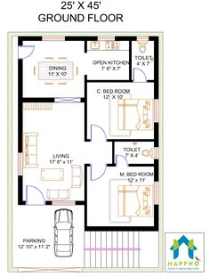 Vastu Complaint 2 Bedroom (BHK) Floor plan for a feet Plot Sq ft plot area). Check out for more 3 BHK floor plans and get customized floor plans for various plot sizes Town House Plans, 2bhk House Plan, Free House Plans, Simple House Plans, Model House Plan, House Layout Plans, Family House Plans, House Floor Plans, House Floor Design