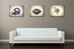 Discount set of 3 Minnesota Vikings photo-canvas by IprayStudio