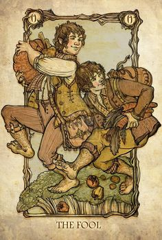 Tarot: The Fool by ~SceithAilm. A set of Tolkien-themed Tarot cards. Tarot The Fool, Merry And Pippin, O Hobbit, Tarot Major Arcana, Tarot Card Decks, High Fantasy, Illustrations, Deck Of Cards, 21 Cards