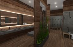 Bathrooms of CrossFit Solace, renderings of a new luxury CrossFit gym in NYC.