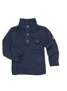 Pumpkin Patch - knitwear - aviator knit sweater - W4TB30006 - captain blue - 12-18m to 5