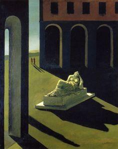 """Giorgio De Chirico, Melanconia (Mélancolie), 1913. Symbole de la mélancolie autant que de l'artiste abandonné par la société, Ariane exprime le tempérament saturnien de l'être artiste seul au monde, devant faire face à l'ombre, à la négation, au non-être, à la mort. De Chirico a écrit dans son poème """"La volonté de la statue"""" : « Le soleil s'est arrêté tout en haut au centre du ciel ; et la statue dans un bonheur d'éternité noie son âme dans la contemplation de son ombre »."""