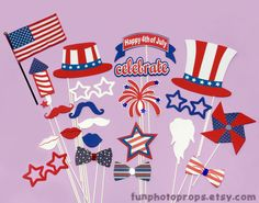 22 piece PhotoBooth Prop Set - 4th of July Photo Booth Prop Set - Photobooth Props on Etsy, $30.95