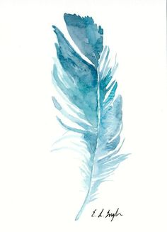 Original Watercolor Feather Painting, 5x7, blue, teal, bird feather,art, wall art, home decor