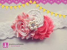 Infant headband, Newborn headband, Coral headband, Shabby Headband, Baby headband, Baby Bows, Flower Girl Headband, Flower Girl Bow