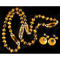 Gold and Tiger Eye Bead Necklace and Earrings Sold $850.