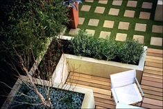 Uniform but the natural elements of the lawn, plant life, wood and stone make this space feel alive.