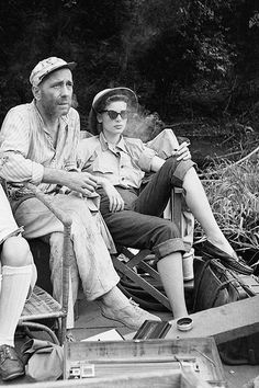 Lauren Bacall and Humphrey Bogart on the set of The African Queen, 1951.