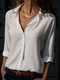Women Blouse Casual Work Long Sleeve Chiffon Plus Size Blouse Tops Plus Size Shirts, Plus Size Blouses, Chiffon Shirt, Chiffon Tops, Mode Inspiration, Types Of Sleeves, Shirt Blouses, Blouses For Women, Plus Size Fashion
