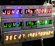 Straight out of the vault from Dr. E. Brown Enterprises comes the retro Back To The Future inspired desk clock. Styled just like Doc's time circuit display, it shows you the exact dates Marty traveled to the past and future in addition to the actual time.