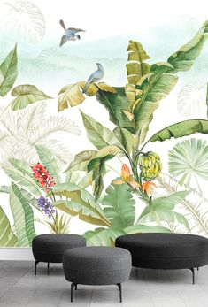Tropical Flowers and Bird Wallpaper Floral Wall Mural Modern Home Decor For Living Room Bedroom Entryway Cafe Tropical Houses, Tropical Decor, Tropical Flowers, Tropical Interior, Normal Wallpaper, Bird Wallpaper, Cheap Wall Decor, Cheap Home Decor, Living Room Bedroom