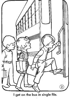 School Bus Safety Coloring Pages … | Teaching…