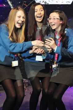 Emer Hickey, Sophie Healy-Thow and Ciara Judge from Kinsale Community School in Co Cork as they are named the BT Young Scientists of the Year at the RDS, Dublin. Picture date: Friday January 11, 2013.
