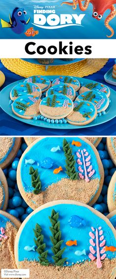 How to Make Finding Dory Cookies - The perfect addition to your Finding Dory party, these Finding Dory Cookies look like a beautiful coral reef. Use graham cracker crumbs to get the look of sand and bring your cookies to life with colorful water plants. A fun project for beginners, these cookies will help you fine-tune your decorating skills in no time!