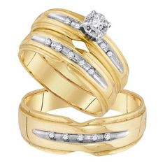His and Her Wedding Ring set 0.18CTW DIAMOND ROUND CENTER TRIO SET 10KT Yellow Gold - Listing price: $1,995.00 Now: $691.00