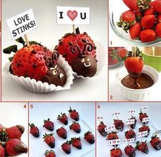 strawberry and chocolate ladybugs Yummy Treats, Delicious Desserts, Sweet Treats, Dessert Recipes, Valentines Day Party, Valentine Day Crafts, Valentine Ideas, Holiday Treats, Holiday Recipes