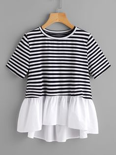 Shop Contrast Frill Trim Striped Tee online. SheIn offers Contrast Frill Trim Striped Tee & more to fit your fashionable needs.