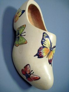 Old wooden shoe with butterflies by MadeByandWithTLC on Etsy, $12.00