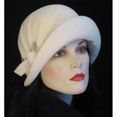 Vintage white cloche hat, perfect bridal headwear.