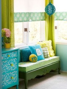 Make a window seat with a cusion on top of old coffee table