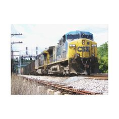 "CSX Railroad AC4400CW #6 With a Coal Train Gallery Wrap Canvas $156.95 - 25""X 18"" - #stanrail --The GE AC4400CW is a 4,400 horsepower diesel-electric locomotive built by GE Transportation Systems between 1993 and 2004. . Made with a tight weave ideal for any photography or fine art, our instant-dry gloss canvas produces prints that are fade-resistant for 75 years or more. #stanrails_store"