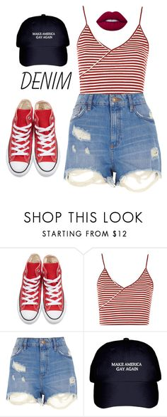"""""""Untitled #282"""" by hamiltrashtm ❤ liked on Polyvore featuring Converse, Topshop, River Island and Lime Crime"""