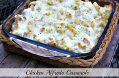 Chicken Alfredo Casserole-I made this for supper tonight. Will definitely make this again. I love anything and everything chicken Alfredo Alfredo Casserole Recipe, Alfredo Recipe, Casserole Recipes, Alfredo Sauce, Chicken Casserole, Homemade Alfredo, Pasta Casserole, Homemade Sauce, Italian Casserole
