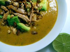 Mexican Acorn Squash Soup with Smoky Chicken and Spicy Seeds