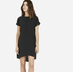 The Silk Short-Sleeve Dress in black - Everlane