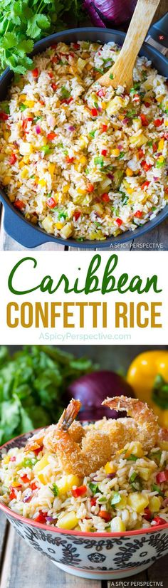 Fragrant Caribbean Confetti Rice Recipe-would be good with black beans in it! Confetti Rice Recipe, Rice Dishes, Food Dishes, Side Dish Recipes, Dinner Recipes, Cocktail Recipes, Quinoa, Caribbean Recipes, Caribbean Rice