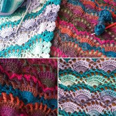 With the cold weather coming, we were busy making ourselves some warm but colourful shawls lately. We used a acrylic variety yarn and the pretty Festival Shawl pattern by Lyn Robinson:  www.ravelry.com/patterns/library/festival-shawl #crochet #pattern #shawl #coldweather #fall #haken #herfst #omslagdoek