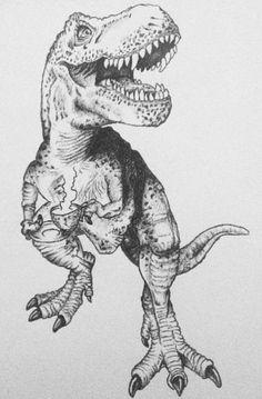 My drawing of a tea-Rex  T-Rex dinosaur tea tea drinker drink Dino teeth rawr drawing pen ink sketch print art work