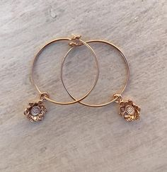 Dainty Nature Earrings Gold Flower Rose Etsy Uk Hoops Thin Simple Hoop Large