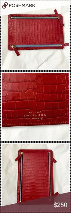 "Smythson Mara currency case Smythson's poppy zip Mara currency case in red printed leather. 4 zipper compartments to store different currency. All the zipper fabric are in different colors as signature detail. New without tag. Comes with original cards and padding. Size 5.5"" x 8.5"". The last photo is style reference only. Smythson Bags Wallets"