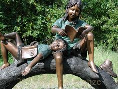 Boy Girl Reading On Tree Branch sculpture-3