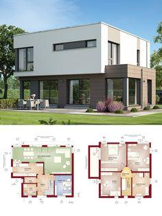 Bauhaus Stadtvilla modern mit Flachdach Architektur - Haus bauen Grundriss Einfamilienhaus Evolution 143 V10 Bien Zenker Fertighaus - HausbauDirekt.de