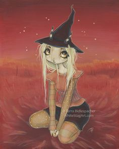 Witch girl art print red big eye lowbrow pop by WhiteStag on Etsy