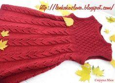 Красный сарафан для девочки спицами. Начинаем