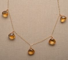 Citrine Gold Chain Necklace, November Birthstone Necklace, Golden Yellow Gemstone, Healing Gemstone Jewelry